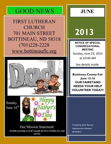 June 2013 Newsletter - First Lutheran Church