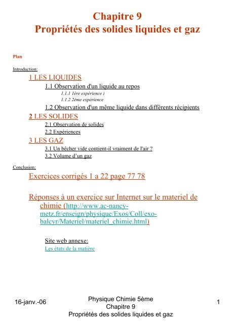 Chapitre 9 Propria C Ta C S Des Solides Liquides Et Gaz Oocities
