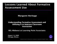 Lessons Learned About Formative Assessment Use - Learning Point ...