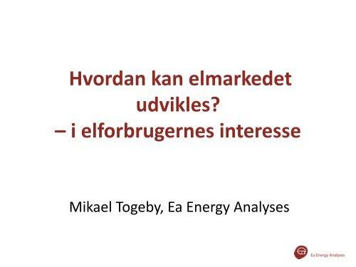 Hvordan kan elmarkedet udvikles? - Ea Energianalyse
