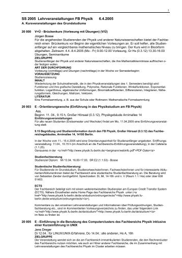 KVV - Fachbereich Physik
