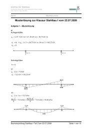Musterlösung zur Klausur Stahlbau I vom 22.07.2009