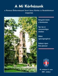 A Mi Kórházunk: 2001. október ( III/5) - Szent János Kórház