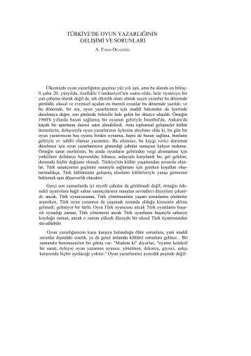 Türkiye'de Oyun Yazarlığının Gelişimi ve Sorunları