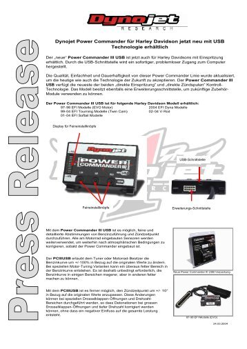 Dynojet Power Commander für Harley Davidson jetzt neu mit USB ...