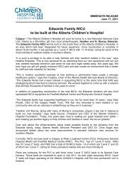 Edwards Family NICU to be built at the Alberta Children's Hospital