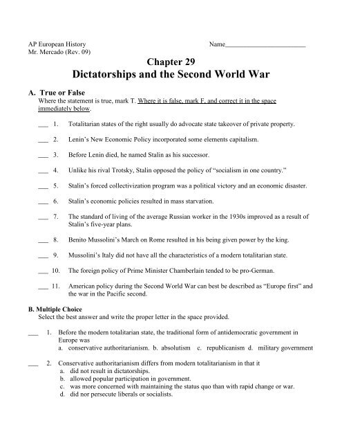 Chapter 29: Dictatorships and the Second World War