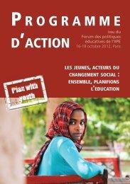 Programme d'Action : Les jeunes, acteurs du ... - Plan with Youth