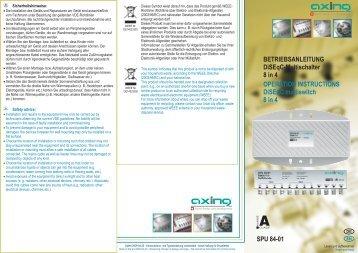 BETRIEBSANLEITUNG DiSEqC-Multischalter 8 in 4 OPERATION ...
