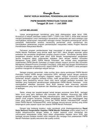 Kerangka Acuan Rapat Kerja Nasional Pengendalian ... - P2KP