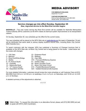 MEDIA ADVISORY - Nashville MTA