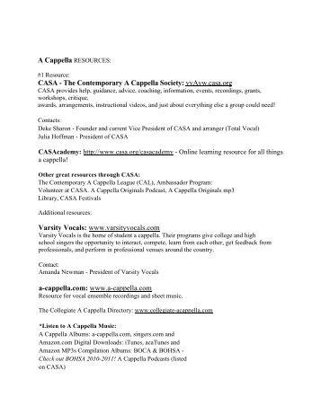 A Cappella RESOURCES - Oregon Music Education Association
