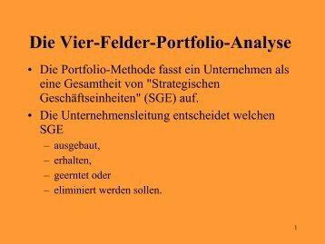 Die Vier-Felder-Portfolio-Analyse Zusammenfassung der ...