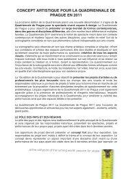 CONCEPT ARTISTIQUE POUR LA QUADRIENNALE DE PRAGUE ...