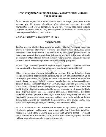 HİSSELİ TAŞINMAZ ÜZERİNDEKİ BİNA • AİDİYET ... - İstanbul Barosu