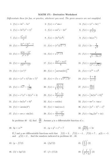Worksheets Higher Order Derivatives Worksheet second derivative worksheet with answers intrepidpath math 171 diffeiate these for fun or jpg quality 80