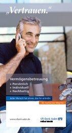 Persönlich, Individuell, Nachhaltig - VR-Bank Aalen eG