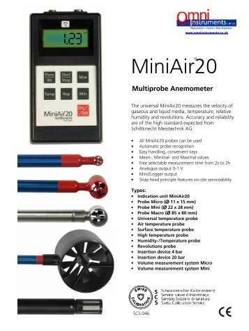 MiniAir 20 Portable Vane Anemometer with Display - Omni Instruments