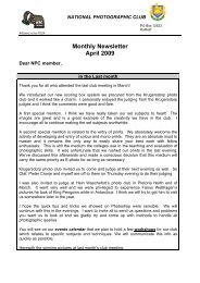 Monthly Newsletter April 2009 - National Photographic Club