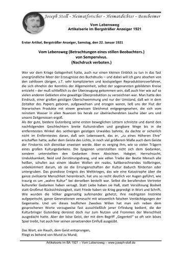 "Joseph Stoll Bensheim Artikelserie im BA ""Vom Lebensweg"""