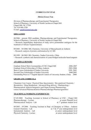 ying xie ph d unc eshelman school of pharmacy