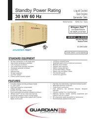30KW Spec Sheet - Generac Parts