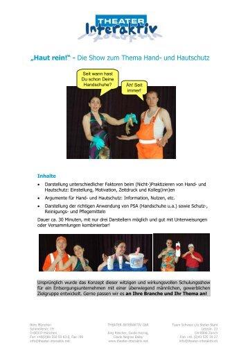 """""""Haut rein!"""" - Die Show zum Thema Hand- und Hautschutz - Theater ..."""
