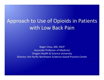 Approach to Use of Opioids in Patients with Low Back Pain - PCSS-O
