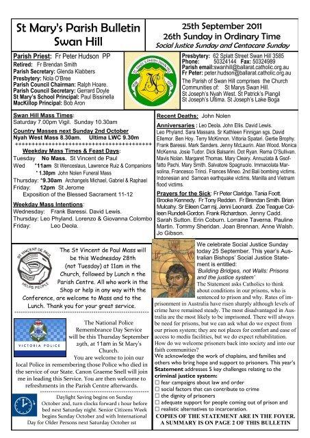 St Mary's Parish Bulletin Swan Hill - Catholic Diocese of Ballarat