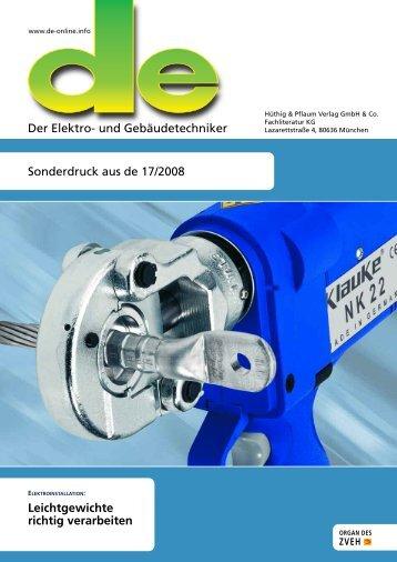 Leichtgewichte richtig verarbeiten - Gustav Klauke GmbH