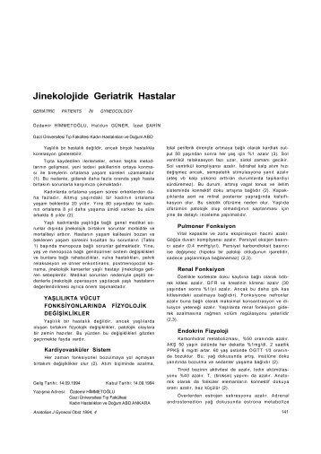Jinekolojide Geriatrik Hastalar