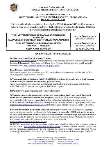 Türk uyruklu adaylar aşağıda sayılan belgeleri 19-23 Ağustos 2013 ...