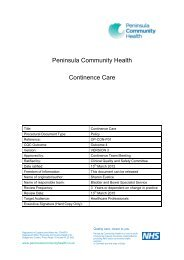 Continence Care - the Royal Cornwall Hospitals Trust website...