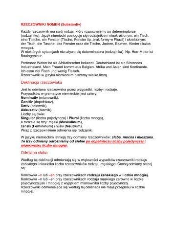RZECZOWNIKI NOMEN (Substantiv) - SJO PWr