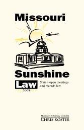 Missouri Sunshine Law 2008 - Missouri Attorney General