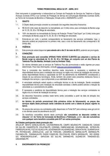 1 TERMO PROMOCIONAL MEGA G2 2P – ABRIL 2013 Este ... - GVT