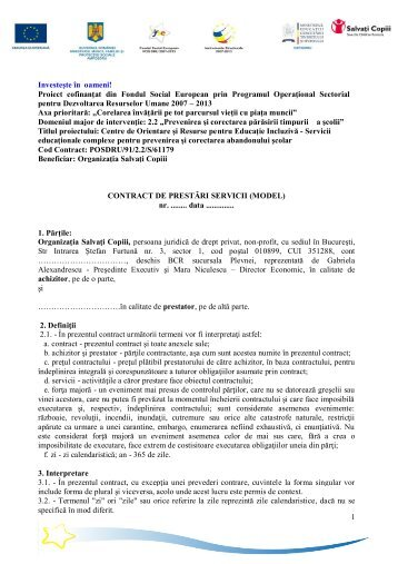 Contract de prestari servicii tiparituri model - Salvati Copiii