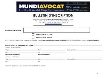 Bulletin d'Inscription Francais - Mundiavocat