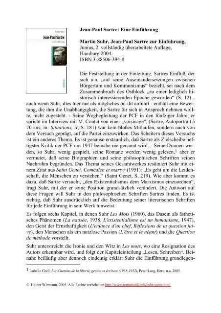 Jean Paul Sartre Sartre Und Die Kunst