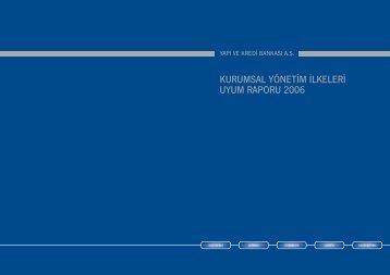 KURUMSAL YÖNETİM İLKELERİ UYUM RAPORU 2006 - Yapı Kredi
