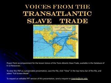 TRANSATLANTIC SLAVE TRADE - Database of K-12 Resources