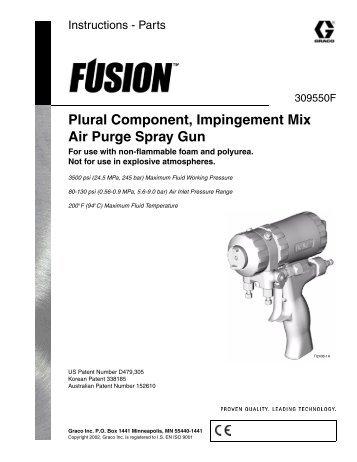 Graco Fusion Air Purge Spray Gun - Custom Linings