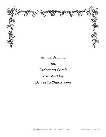 Advent Hymns and Christmas Carols complied by Domestic-Church ...