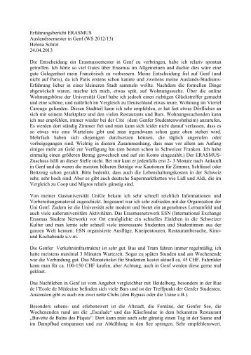 Erfahrungsbericht WS 12 / 13 - Erasmus
