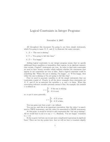 Logical Constraints in Integer Programs