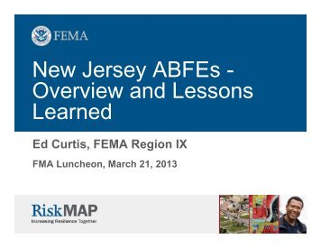 New Jersey ABFEs - Overview and Lessons Learned - Floodplain ...