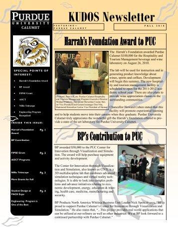 KUDOS Newsletter - Purdue University Calumet