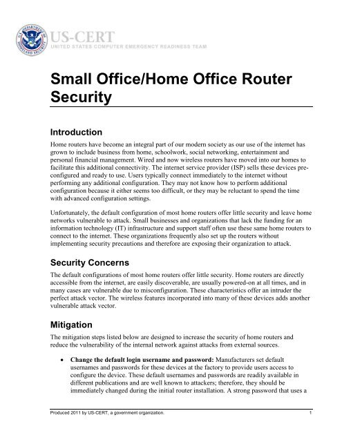 Small Office Home Office Router Security Introduction Us Cert
