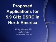 Proposed Applications for 5.9 GHz DSRC in North America