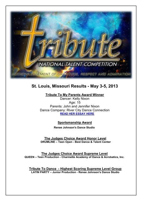 St  Louis, Missouri Results - May 3-5, 2013 - Tribute
